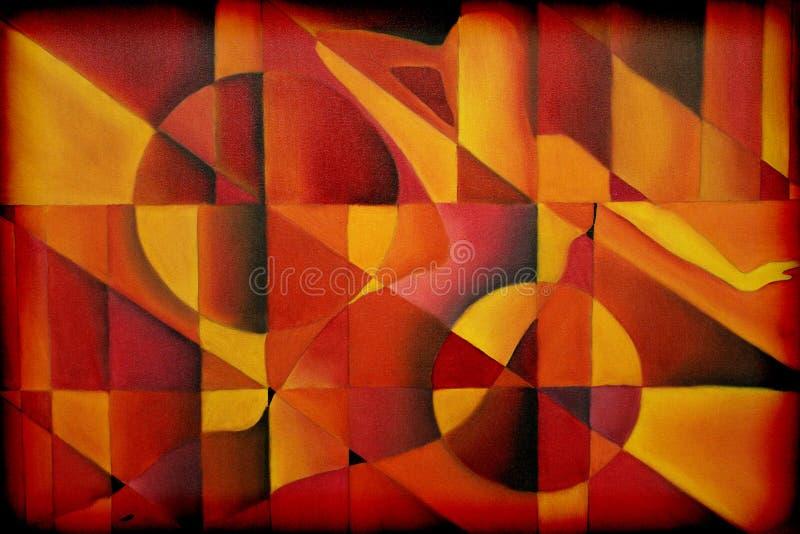 Abstracte Hand Geschilderde Vrouw en Cirkels royalty-vrije illustratie