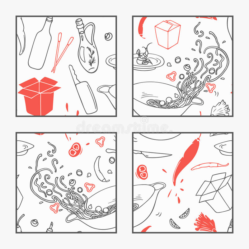 Abstracte hand getrokken de elementenaffiche van het wokrestaurant voor uw ontwerp Krabbel Aziatisch voedsel royalty-vrije illustratie