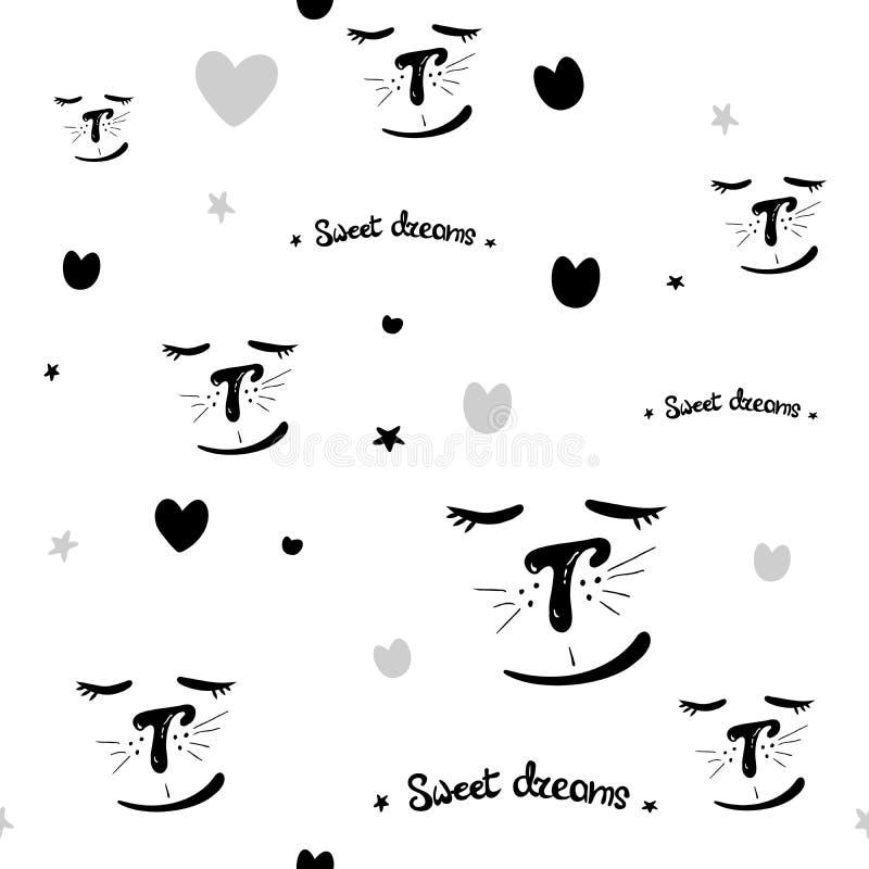 Abstracte Hand Getrokken Krabbel Zwarte witte Naadloze Patronen Als achtergrond met Katten Zoete Dromen vector naadloos patroon v royalty-vrije illustratie