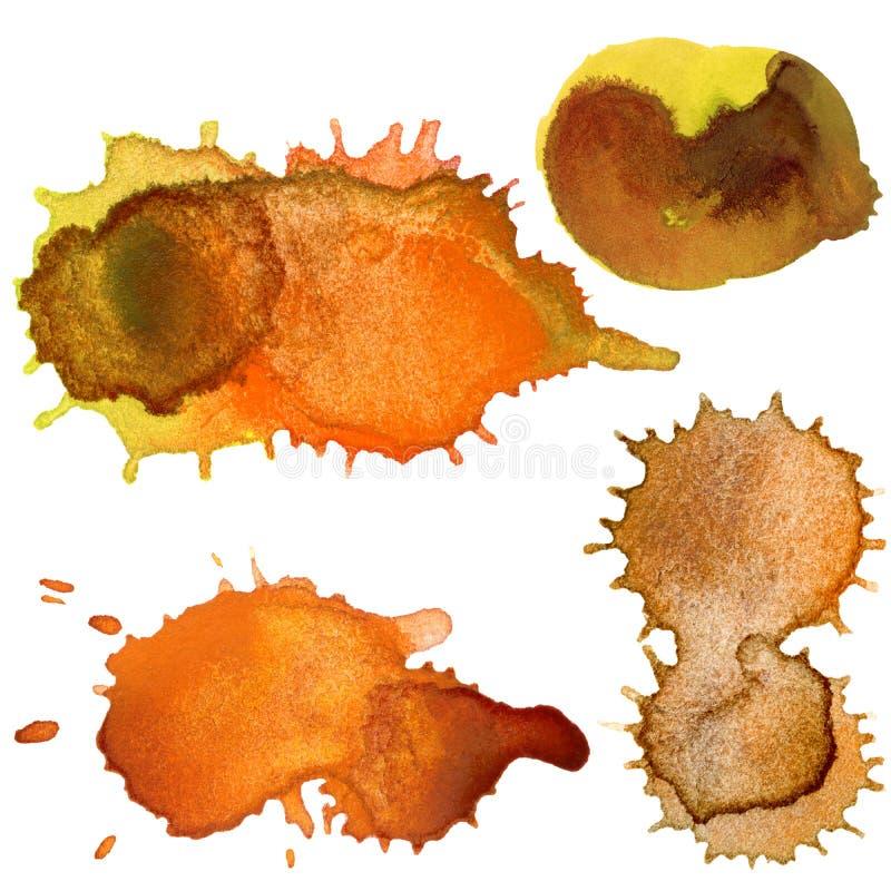 Abstracte hand getrokken waterverfdalingen stock illustratie