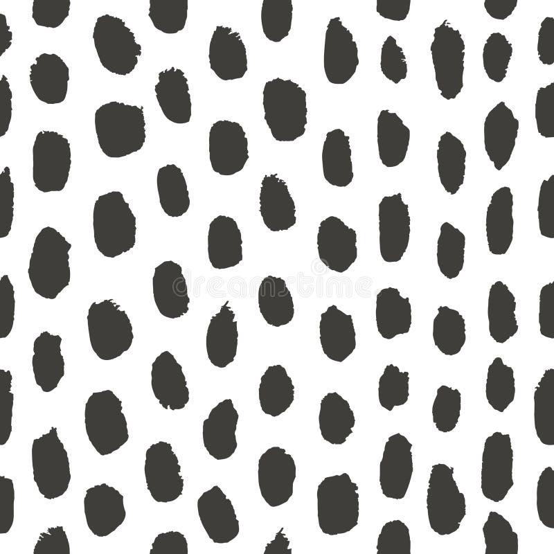 Abstracte hand getrokken zwart-witte achtergrond Naadloos patroon met waterverfelementen in vector vector illustratie