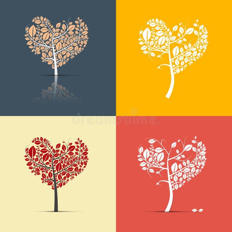 Abstracte Hart Gevormde Bomen op Retro Achtergrond stock illustratie