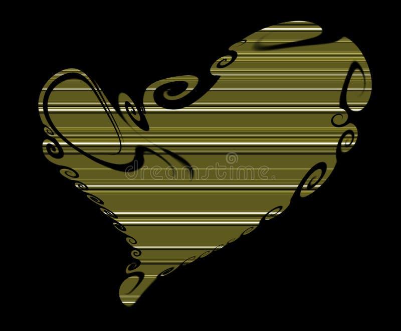 Abstracte hartachtergrond, lijnen gouden tinten royalty-vrije illustratie