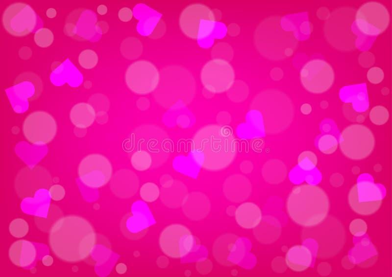 Abstracte Harten en bokeh voor de Roze Kleur Backgrou van de Valentijnskaartendag royalty-vrije illustratie