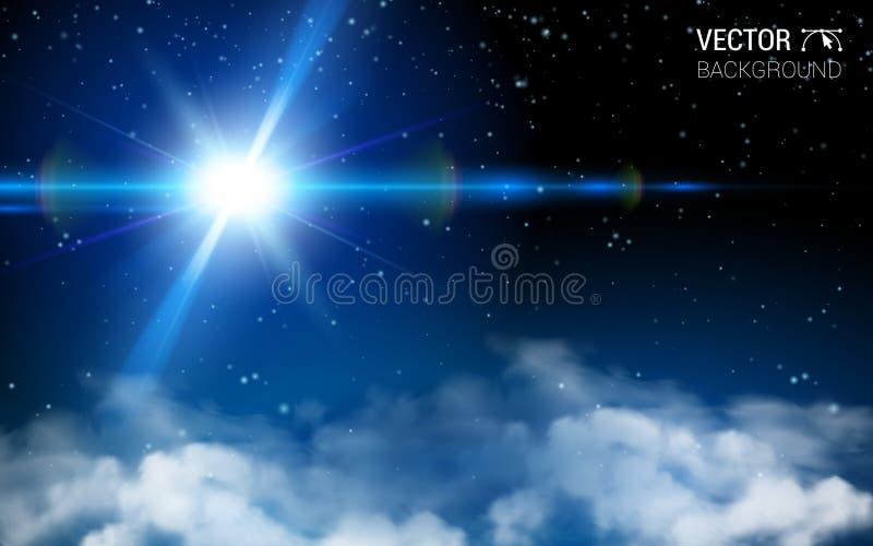 Abstracte Heelal van de sterren het Ruimteoneindigheid Het blauwe Glanzen Effect Realistische Ontwerpelementen Vectorillustratie  royalty-vrije illustratie