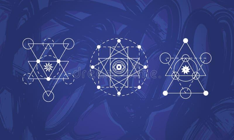 Abstracte heilige geplaatste meetkundesymbolen vector illustratie