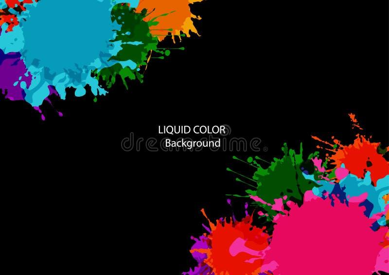 Abstracte helder en de kleur met verfvlekken en ploetert op een zwarte achtergrond, illustratieontwerp royalty-vrije illustratie