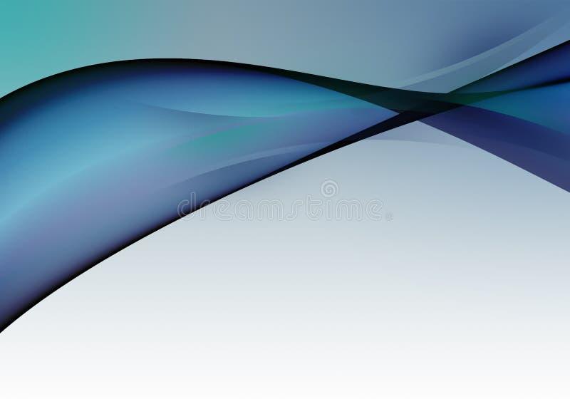 Abstracte heldere achtergrond met blauwe en groene dynamische lijnen voor behang, adreskaartje of malplaatje royalty-vrije illustratie