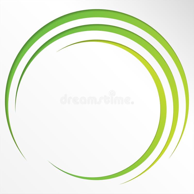 Abstracte heldere achtergrond met cirkels en groene lijnen stock illustratie