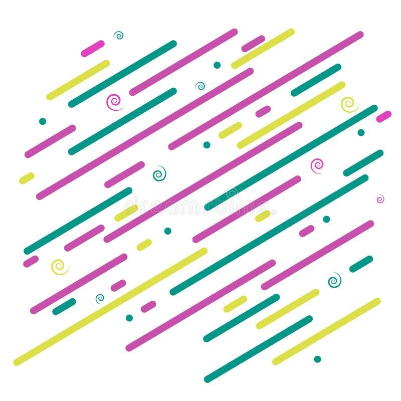 Abstracte heldere Diagonale grafische rassenbarrières en spiralen als achtergrond op een wit achtergrond Futuristisch Dynamisch b royalty-vrije illustratie