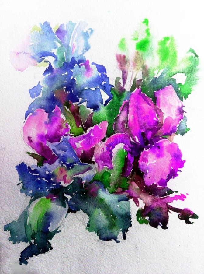 Abstracte heldere gekleurde decoratieve achtergrond Bloemen met de hand gemaakt patroon Mooi teder romantisch boeket van irisbloe royalty-vrije stock afbeelding