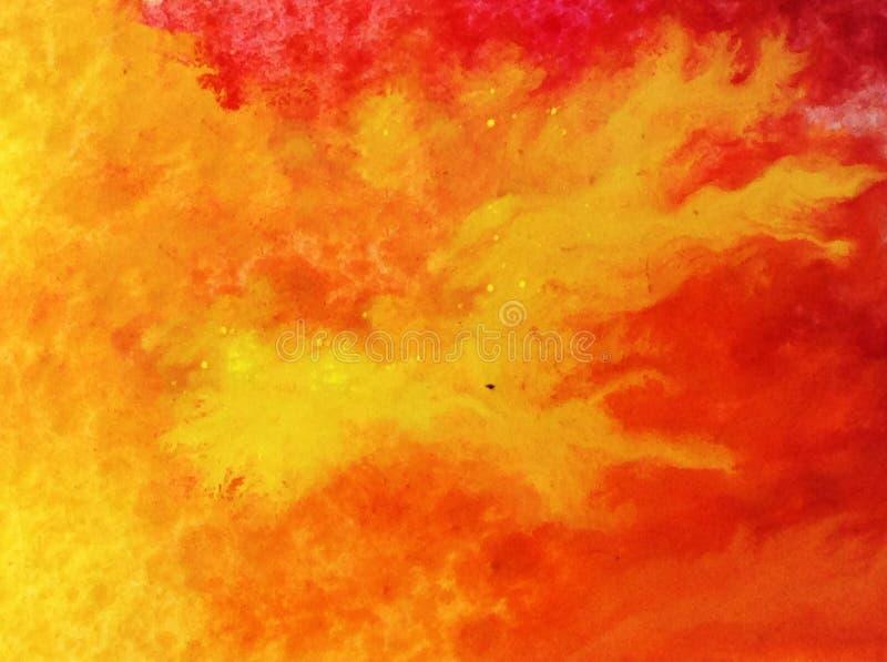 Abstracte heldere gekleurde decoratieve achtergrond Kosmisch met de hand gemaakt patroon Hete brand stock illustratie