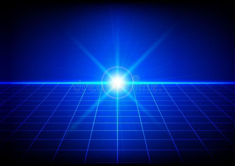 Abstracte heldere gloed met netperspectief op blauwe achtergrond royalty-vrije illustratie