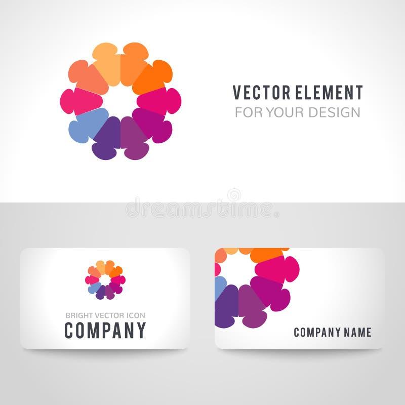 Abstracte heldere kleurrijke mededeling logotype stock illustratie