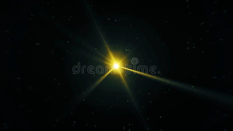 Abstracte heldere lichte projector bij tussenpozen roterend met rond stofdeeltjes Gele schijnwerper die langzaam spinnen stock illustratie