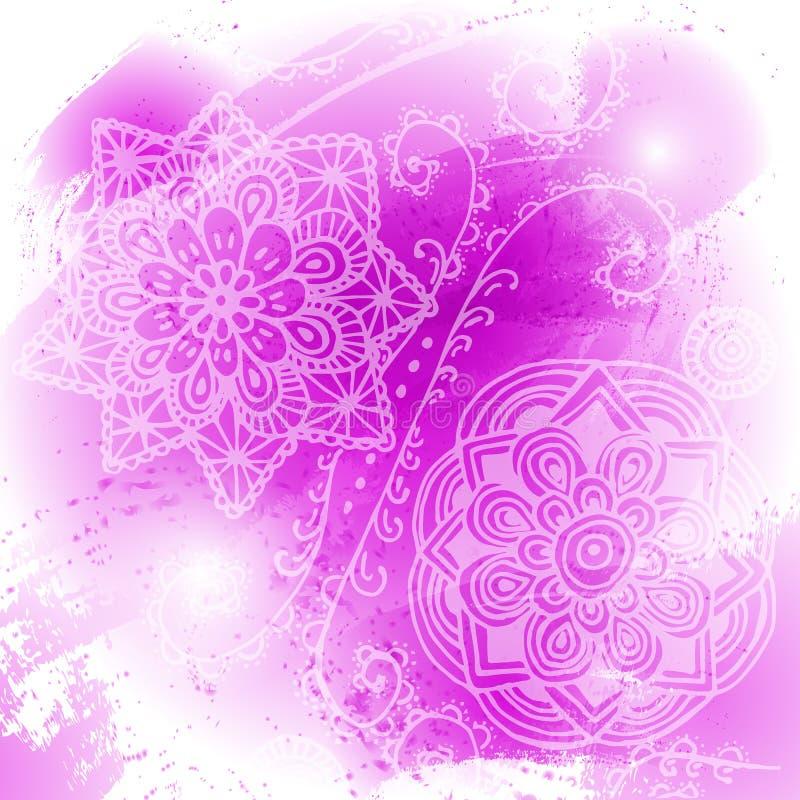 Abstracte heldere roze waterverfvlek op witte achtergrond Kleur het bespatten in het document Getrokken hand stock illustratie
