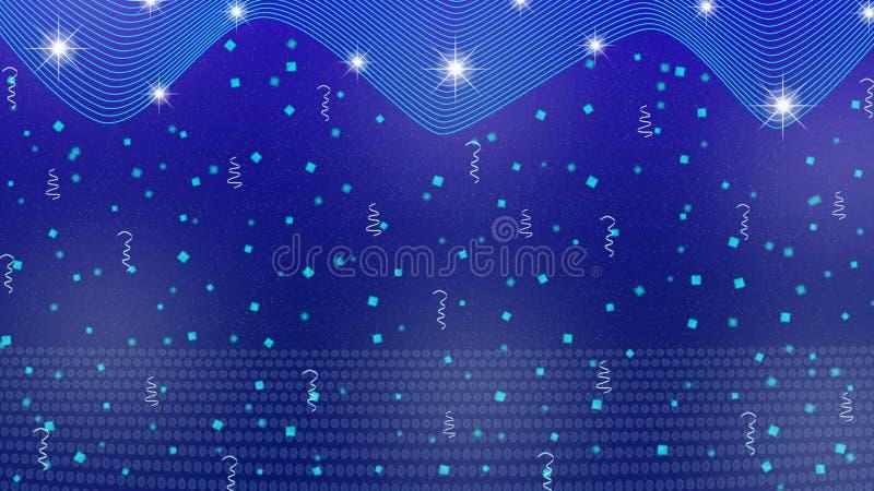 Abstracte Heldere Sterren, Lichten, Fonkelingen, Confettien en Linten op Blauwe Achtergrond royalty-vrije illustratie