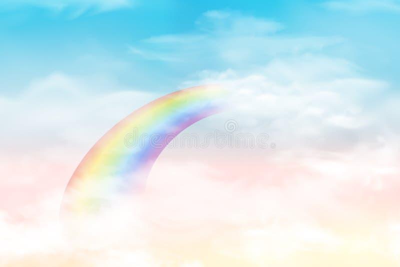Abstracte hemel met kleurenwolken Zon en wolkenachtergrond met een zachte pastelkleur Achtergrond van het fantasie de magische la royalty-vrije illustratie