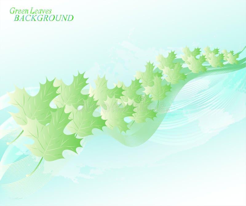 Abstracte hemelachtergrond met lijnen en bladeren EPS10 vectorillustratie royalty-vrije illustratie