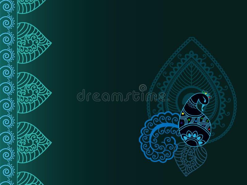 Abstracte henna Paisley-pauw achtergrond royalty-vrije stock afbeeldingen