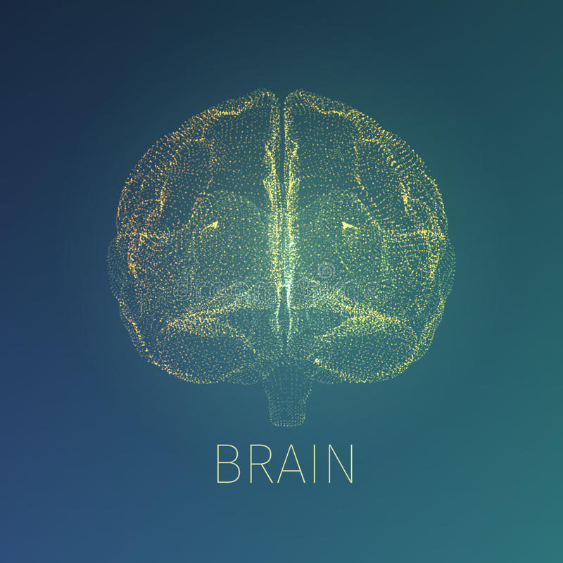 Abstracte hersenen vectorillustratie Röntgenstraalmening binnen hoofd Neurologiebanner stock illustratie