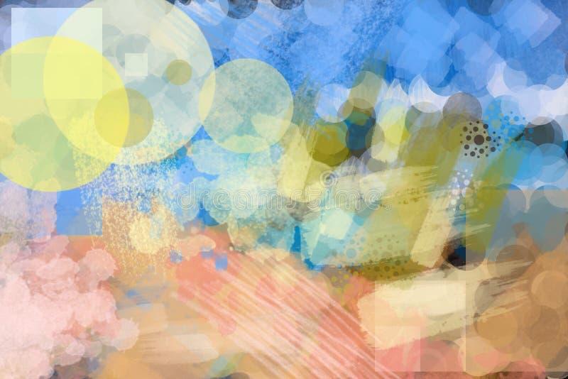 Abstracte het achtergrond kleurrijke borstel schilderen rondes, krassen vector illustratie