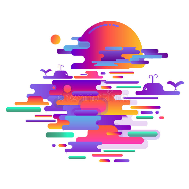 Abstracte het afschilderen zonsondergang op het overzees, glans van de zon op het water Vector illustratie stock illustratie