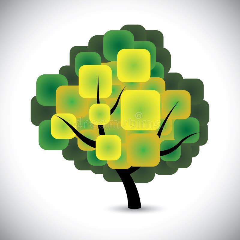 Abstracte het conceptenvector van de de lenteboom met kleurrijke groene bladeren vector illustratie