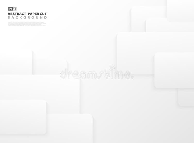 Abstracte het document van de gradiënt grijze en witte kleur het ontwerpachtergrond van het besnoeiingsmalplaatje royalty-vrije illustratie