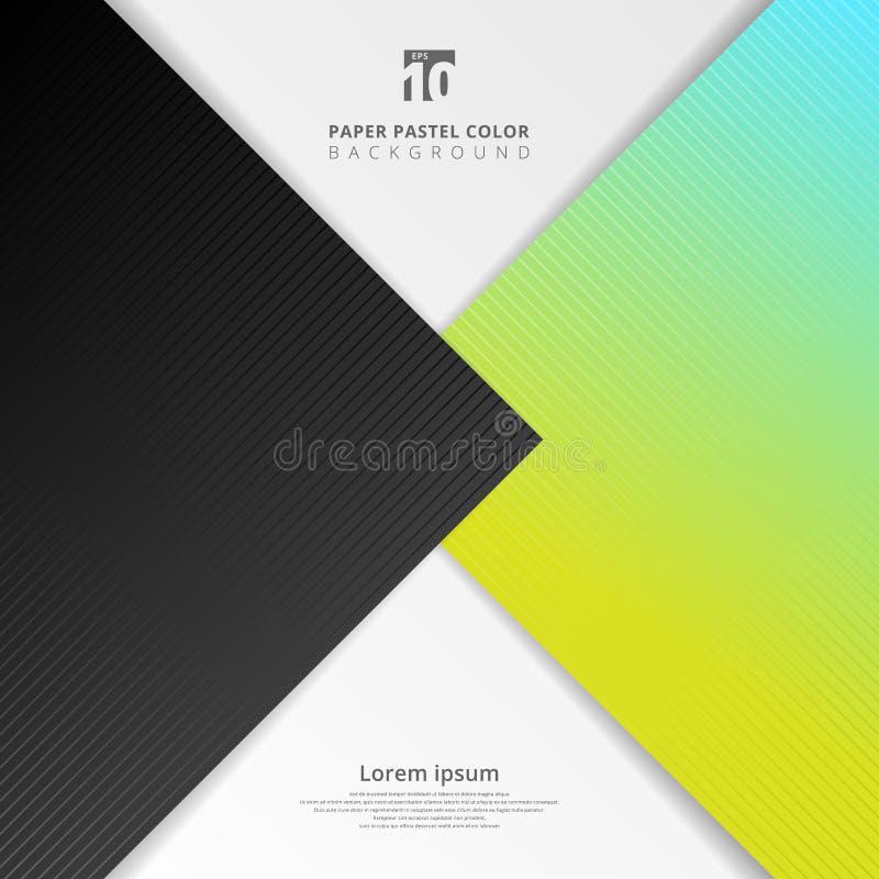 Abstracte het document van het presentatiemalplaatje zwarte, blauwe, groene de pastelkleurachtergrond van de bladoverlapping vector illustratie