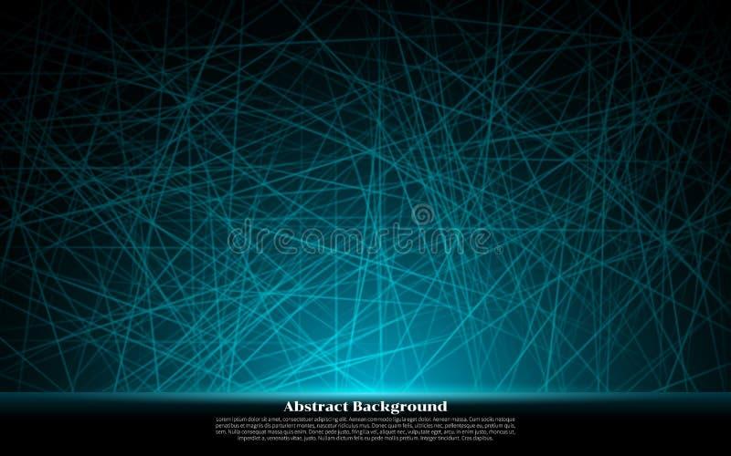 Abstracte het Effect van Neon Blauwe Lijnen Glanzende Realistische Ontwerpelementen Vector illustratie Abstracte zwarte moderne a stock illustratie