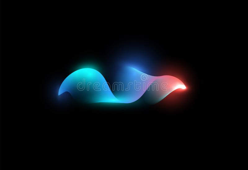 Abstracte het golven vorm Blauwe en roze kleuren digitale golf Lichtgevende golfvorm Muziekstroom, grafische equaliser Ge?soleerd stock illustratie