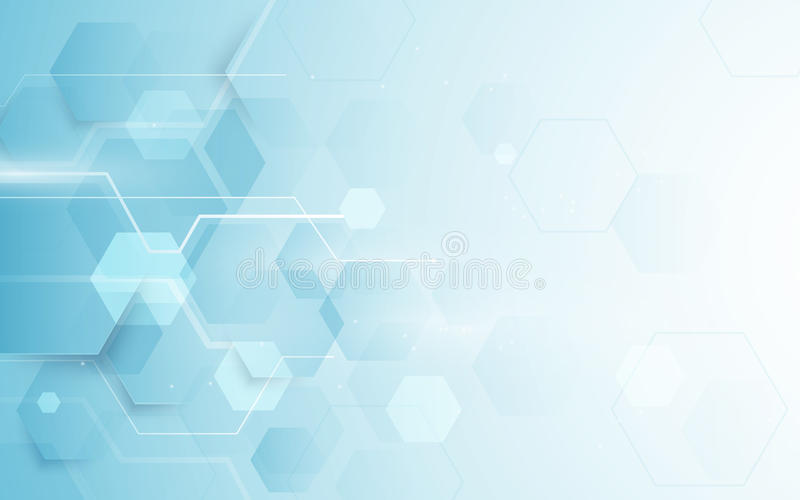 Abstracte het herhalen hexagonale vorm en de futuristische achtergrond van het technologieconcept royalty-vrije illustratie