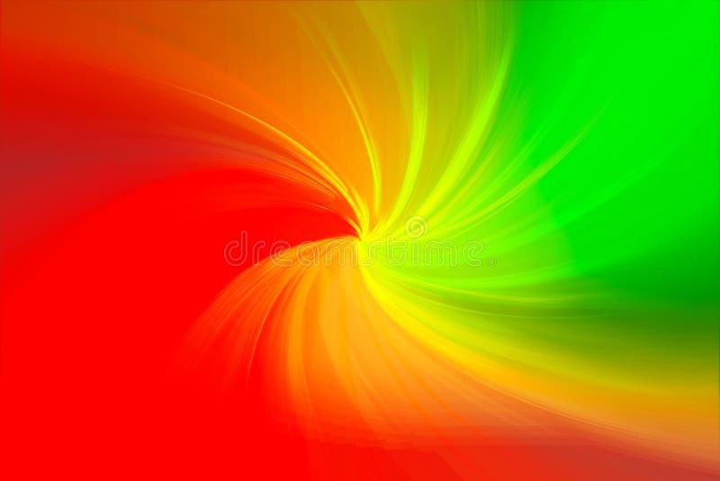 Abstracte het mengen spiraalvormige rode gele en groene kleurenachtergrond royalty-vrije illustratie