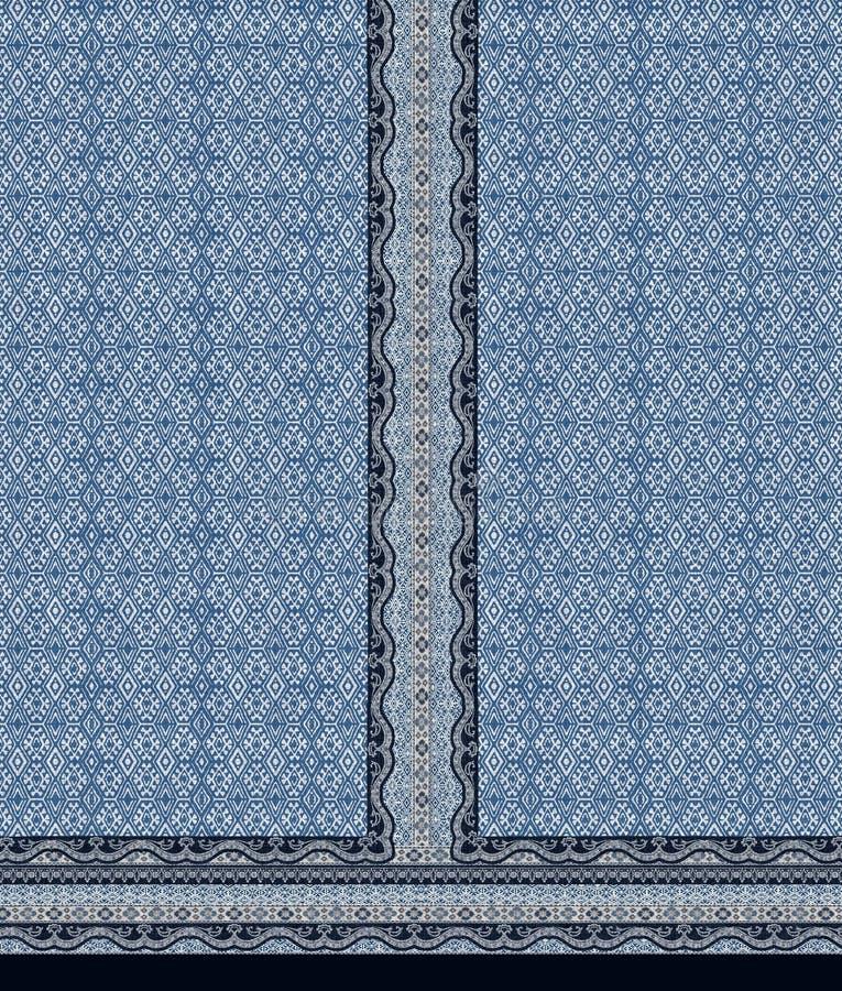 Abstracte het motiefachtergrond van indigokurti royalty-vrije illustratie