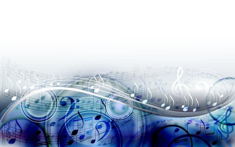 Abstracte het ontwerpachtergrond van de bladmuziek met muzieknoten stock illustratie