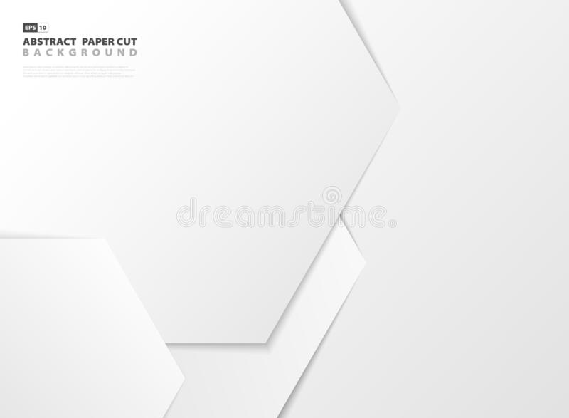 Abstracte het ontwerpdocument van het gradiënt witte hexagonale patroon besnoeiingsachtergrond Vector eps10 royalty-vrije illustratie