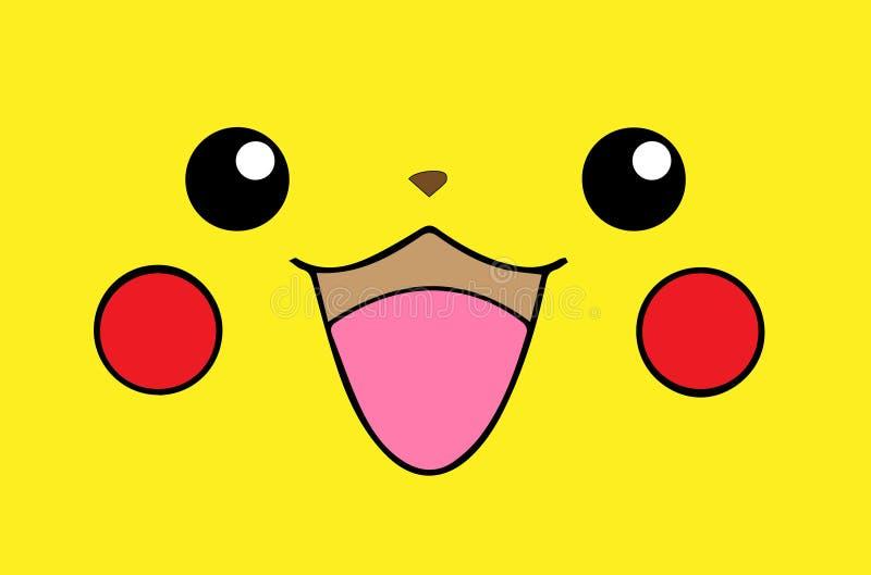 Abstracte het ontwerpillustratie van het pikachugezicht stock afbeelding