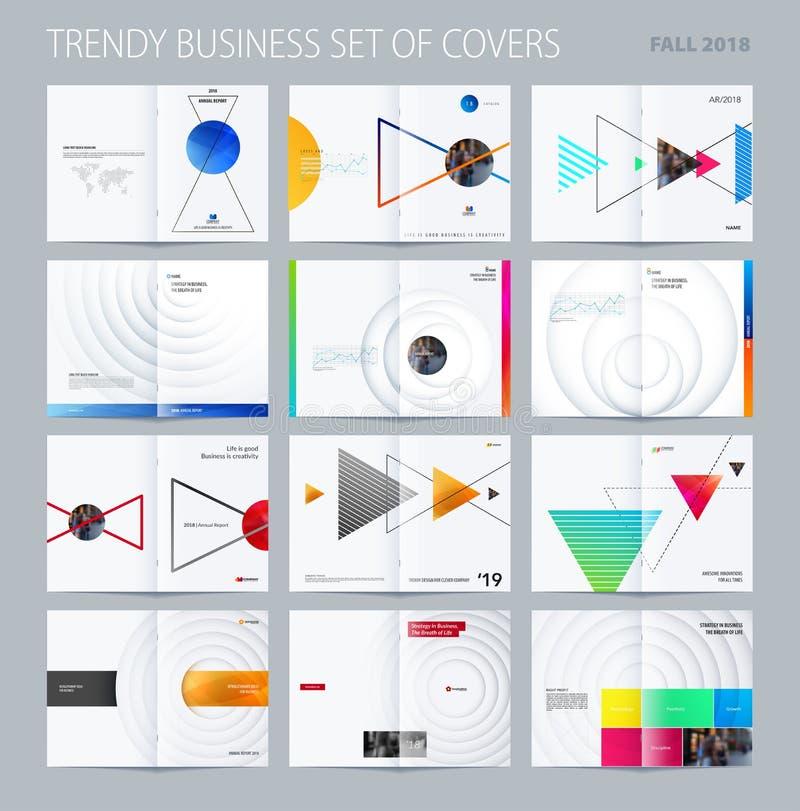 Abstracte het ontwerpstijl van de dubbel-paginabrochure met kleurrijke driehoeken voor het brandmerken Bedrijfs vectorpresentatie vector illustratie