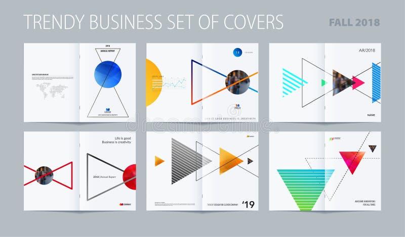 Abstracte het ontwerpstijl van de dubbel-paginabrochure met kleurrijke driehoeken voor het brandmerken Bedrijfs vectorpresentatie stock illustratie