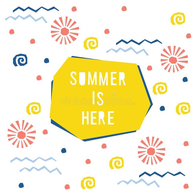 Abstracte het patroonachtergrond van de de zomertijd Kinderachtige eenvoudige toepassing voor ontwerpkaart, uitnodiging, de affic vector illustratie