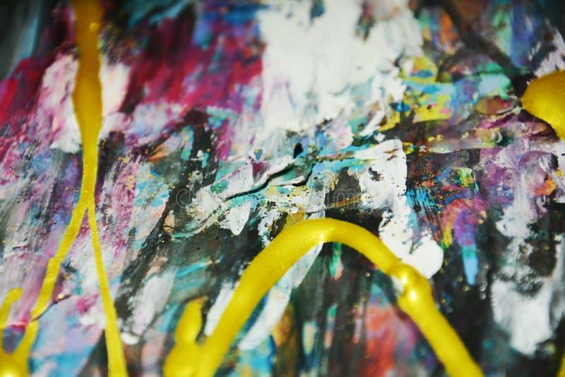 Abstracte het schilderen fonkelende achtergrond, borstelslagen, organische hypnotic achtergrond stock fotografie