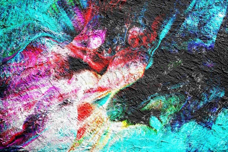 Abstracte het schilderen getrokken waterverfachtergrond door digitale borsteltechniek, behang met volledige de kleurentextuur van vector illustratie