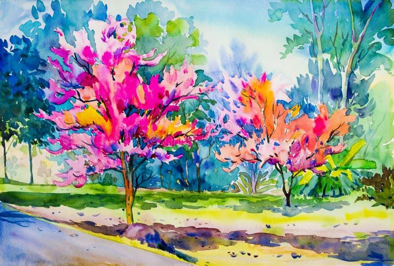 Abstracte het schilderen waterverf origineel van Wilde Himalayan-Kersenbloemen stock illustratie
