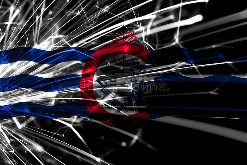 Abstracte het vuurwerk fonkelende vlag van Cincinnati, Ohio Nieuwjaar, Kerstmis en Nationaal dagconcept De Verenigde Staten van A vector illustratie