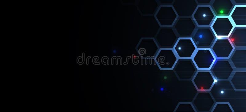 Abstracte hexagon achtergrond Het ontwerp van technologiepoligonal Digitale futuristische minimalism royalty-vrije illustratie