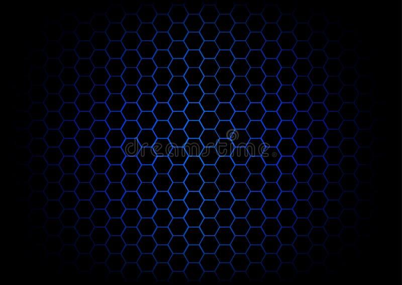 Abstracte hexagon donkerblauwe achtergrond vector illustratie