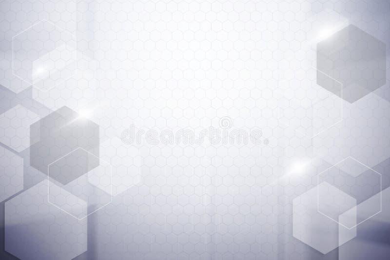 Abstracte hexagon zilveren kleurenachtergrond stock afbeelding