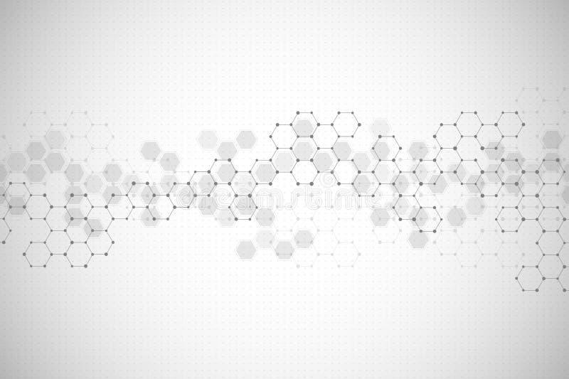 Abstracte hexagonale achtergrond Medisch, wetenschappelijk of technologisch concept Geometrische veelhoekige grafiek Vector stock illustratie