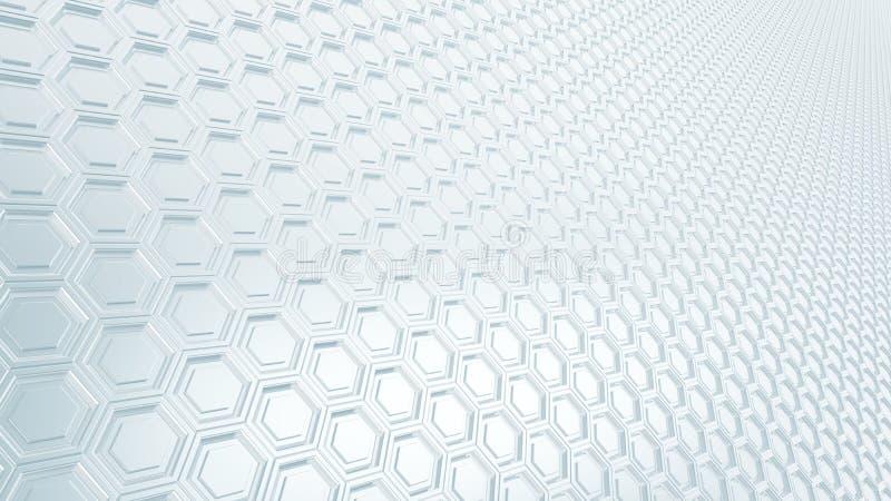 Abstracte hexagonale het metaalachtergrond van het net16:9 met vage bezinningen royalty-vrije illustratie
